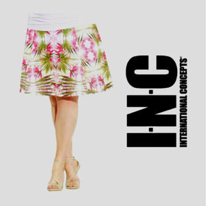 INC Pull On Scuba Stretch Floral Casual Day Skirt
